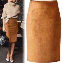 Sexy Multi Color Suede Midi Pencil Skirt Women 2018 Fashion Elastic High Waist Office Lady Bodycon Skirts Saias
