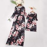 Printed Mother And Daughter Nine-Point Sleeve Dress