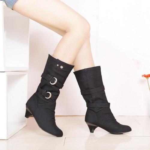 Round Toe Hasp Low Chunky Heels Half Boots