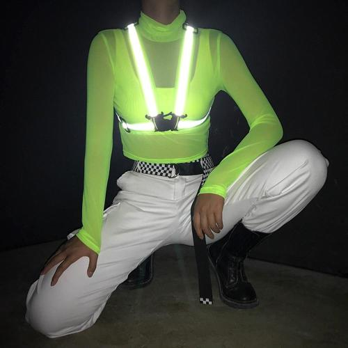 High Collar Fluorescent Color Crop Tops Tees Transparent Mesh T Shirts Long Sleeve  Short Paragraph Sunscreen Shirt with Reflect