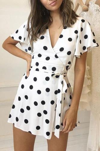 White Fashion Bandage Short Sleeves Mini Dress