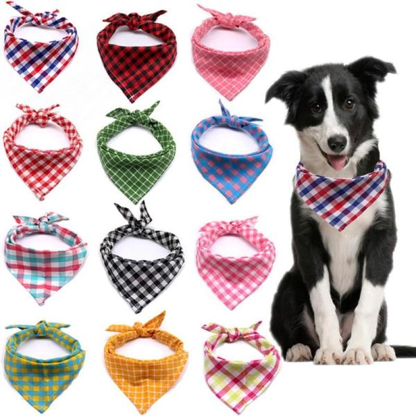 5PC/Lot 100%Cotton Pet Dog Bandanas For Large Dogs Plaid Scarves Collar Dog Grooming Accessories