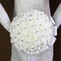 2020 Bridal Wedding Bouquet With Pearl Beaded Romantic Bride 's Bouquet Foamflowers Ramo De Boda Flowers Bride White Satin