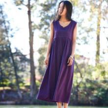 Short Sleeves Purple Linen Dress | Lotus