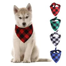 Classic Red Green Blue White Plaid Pet Bibs Scarf Cotton Double Thickening Pet Bandana for Small Large Cats Dogs