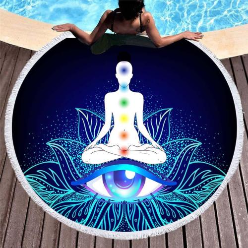 Buddha Statue Summer Round Beach Towel For Adults Kids Yoga Mat Sports Bath Towel Seaside Wall Tapestry With Tassels Home Print