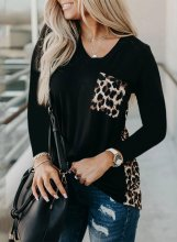 Sunflower Leopard Color Block Tops
