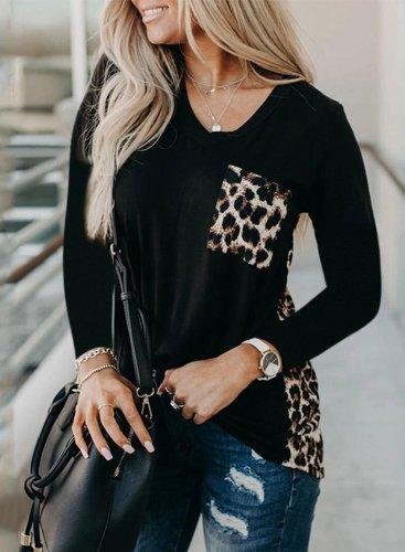 Sunflower Leopard Color Block Tops