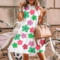 Trendy Floral Sleeveless Mini Dress