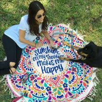 New European Rayon Printing Circular Beach Mat Yoga Blankets Yoga Mat Sand Cloth Shawl Towel Bikini  Summer Dress 143cm