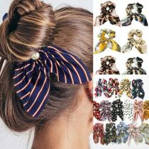 EBUYTIDE New Chiffon Bowknot Silk Hair Scrunchies for Women Cute Pearl Ponytail Holder Hair Rope Rubber Bands Hair Accessories