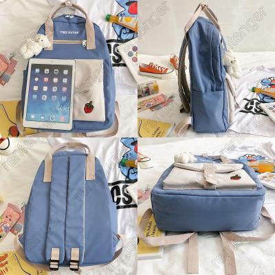 Girl Embroidery Backpack Kawaii Fashion Book Ladies School Bag Harajuku Women Nylon Cute Backpack Student Female College Bag New