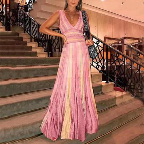Fashion Sexy V Neck Sleeveless High-Waist Stripe Dress