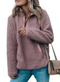 V Neck Long Sleeve Furry Sweatshirt