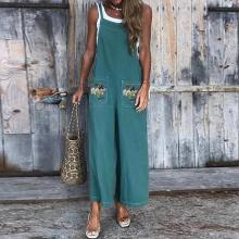 EBUYTIDE Fashion Embroidery Sleeveless Pocket Jumpsuit