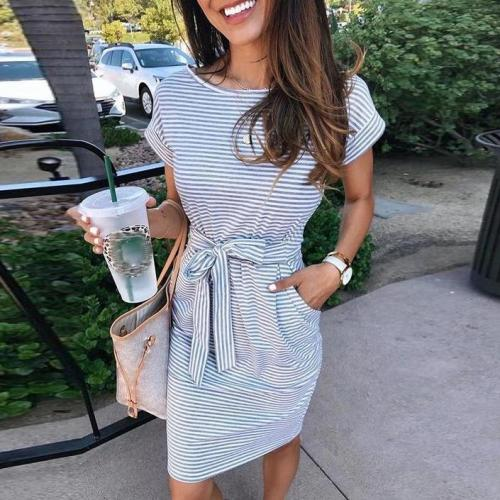Fifity Casual Short Sleeve Striped Mini Dress