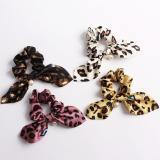 New Leopard Printed Rabbit Ear Elastic Hair Bands With Pearl Scrunchie Women Girls Cute Ponytail Hair Rope Ties Hair Accessories