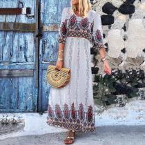Casual Printed Three-Quarter Sleeve Vacation Maxi Dress