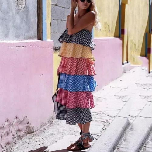 Cute Splicing Plaid Sleeveless Boat Neck Dress