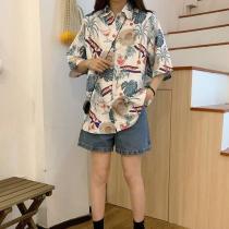 Women Beach Style Printed Blouse Casual Short Sleeve Turn-down Collar Loose Shirt