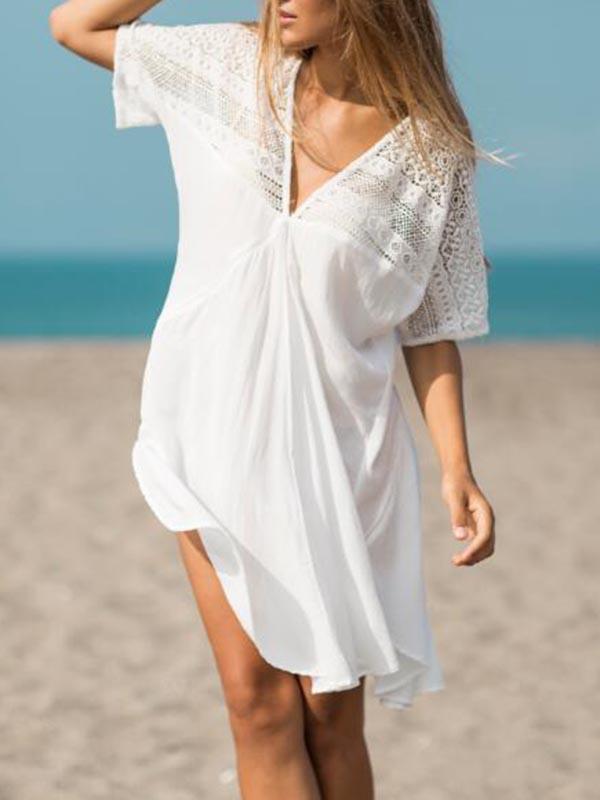 Lace Split-joint Bikini Swimwear Cover-up