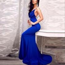 Sexy V Neck Bare Back Sleeveless Evening Dress