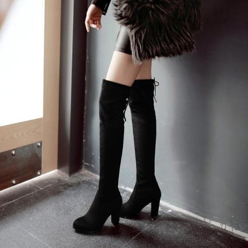 Pointed Toe Suede High Chunky Heel Over-knee Long Boots