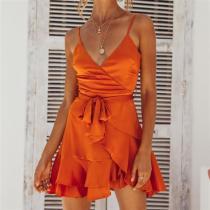 V-Neck Sleeveless Slim Backless Sweet Zip Dress