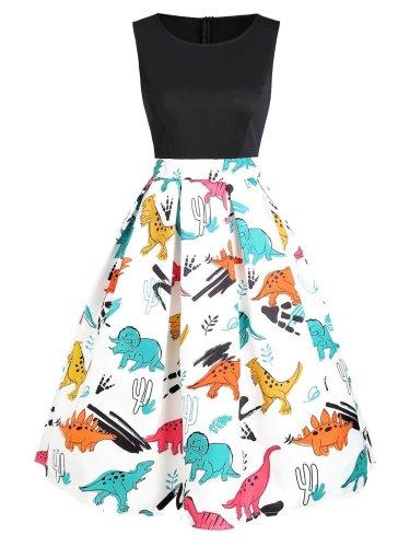 1950s Dinosaur Flare Dress