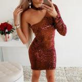 Fashion Retro Inclined Shoulder Paillette Bodycon Dress