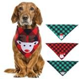 Christmas Plaid Dog Bandana with Handmade Applique (Santa Claus & Elk), Washable Triangle Bibs Scarfs for Puppy