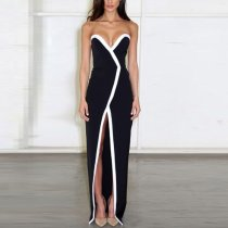 Sexy Split Stitching V Collar Sleeveless Long Evening Dress