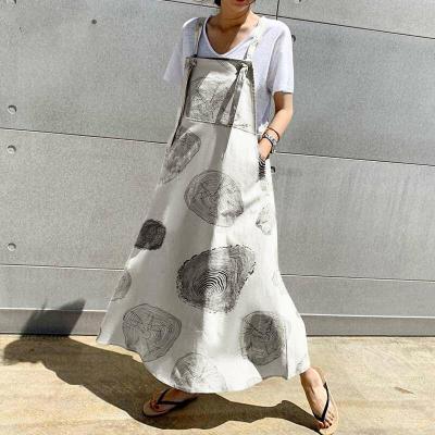 Linen Long Dress Casual Apron Dress