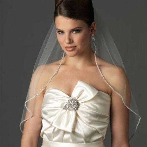 2020 One Layer Bridal Veils With Comb Birdcage White Ivory Tulle Beaded Edge Short Wedding Veil