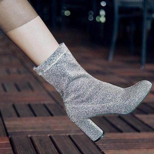 Pointed Toe  New Trend High Chunky Heel Half Boots US 5   EU 35   UK 3   CN 34-US 10.5   EU 41 1/3   UK 7.5   CN 43