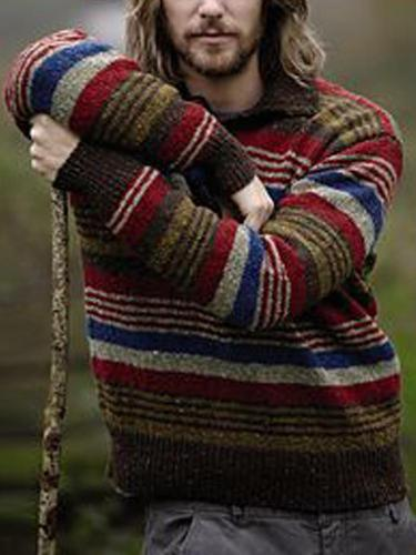 Casual Multicolor Striped Round Neck Long Sleeve Knit Sweater