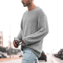 Mens Sweater Solid Color Long Sleeve Knit Pullover