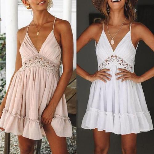 Sexy Deep V Hollow Stitching Vacation Dress