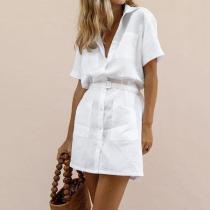 H-Shaped Belt Elegant Shirt Dress