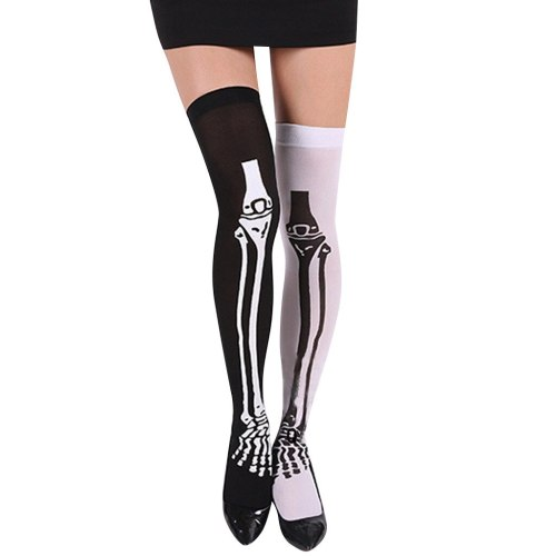 Women Halloween Skull Cosplay Party Printed Pantyhose Stockings #3