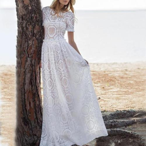 Sexy See-Through Hollow Out Lace Short Sleeve Dress