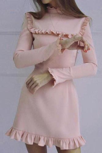 Ruffled Round Neck Long Sleeve Dress