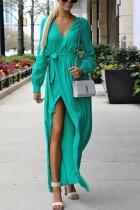 Sexy V-Neck Split Plain  Maxi Dress