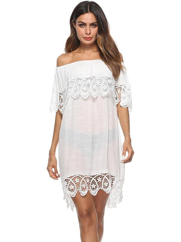 Lace Tulle Sexy Off-the-shoulder Cover-Ups Swimwear