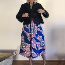 Women's fashion print semi-body skirt RY58