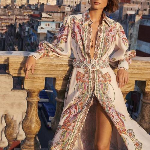 Women's Vintage Elegant Sexy Print Long Sleeve Dress