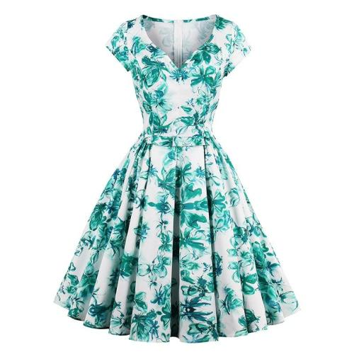 EBUYTIDE Women Dress 1950s Floral Print Party Elegant Retro Daily Sexy Summer A Line Rockabilly Casual Vintage Dress For Girl