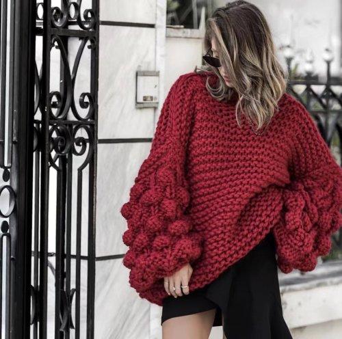 Turtleneck Handmade Knit Long Lartern Sleeves Chunky Pullover Oversized Sweater