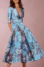 EBUYTIDE Deep V-Neck Sexy Lake Blue Half Sleeves Floral Print Skater Dress