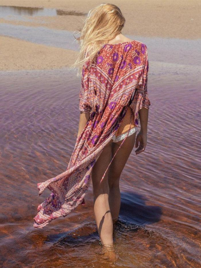 Bohemia Floral-printed Long Sleeves Beach Cover-Ups